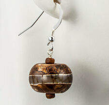 New Jade and Olive Wood Earrings 925 Sterling Silver Natural Fashion iDu Jewelry