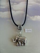 Elefante Amuleto Plata Tibetano Colgante,Largo 76.2cm Cordón Negro