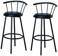 New Indoor Set of 2 Metal Black Swivel Vinyl Seat Pub Bar Stools Chairs Barstool