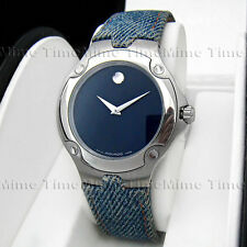Men's Movado SPORTS EDITION SE Navy Blue Denim Jean Leather Band Swiss Watch