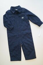 NWT POLO RALPH LAUREN Navy Blue Quilted Suit Romper Fall Winter Baby Boys 12M