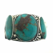 Huge Navajo Sterling Silver 5 Stone Nevada Turquoise Bracelet Cuff