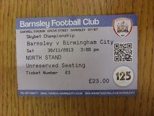 30/11/2013 billet: barnsley v birmingham city (plié). à moins que précédemment list