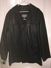 Men Wilsons Leather Black Button Up Removable Thinsulate Lining Coat Jacket XLT