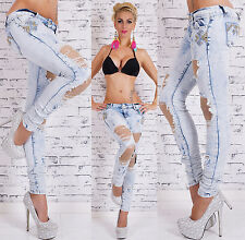 Sexy Women's Skinny Jeans Trendy Light Blue Wash Ripped Lace Jeans Size 6-14