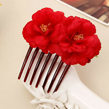 Red Double Beautiful Flower Hair Combs Hair Clip Bridal Wedding Party for Women