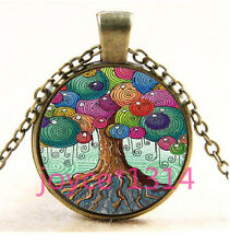 Vintage tree of Life Cabochon Bronze Glass Chain Pendant Necklace #3462