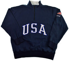 VTG POLO Ralph Lauren M L USA Flag 1992 1993 Blue Fleece Pullover Jacket Sweater