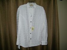 Womens Stubbs Western Wear Cowboy White Circle Blouse Size S NWT Metal Buttons