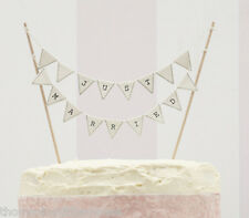JUST MARRIED cake bunting IVORY wedding cake topper decoration