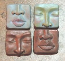 push mold lot abstract faces by Lori barbee original designs ooak polymer clay