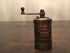 "Traditional SOZEN Turkish Spice Pepper Coffee Herb Grinder Mill Brass 3 1/4""tall"