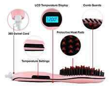 Automatic LCD Temperature Control Brush Electric Hair Straighteners Comb Pink