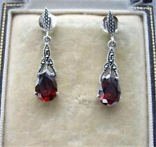 Deco Inspired Genuine Garnet CZ, Marcasite & Silver Earrings