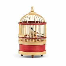Wind-Up Mechanical Singing Bird in a Bamboo Cage - Chirps and Tweets