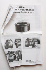 Nikon Extension Ring PK11 12 13 Instruction Manual Book Owners Guide - USED B50