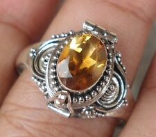 RRP012-925 Sterling Silver Balinese Poison/Locket Ring With Citrine Size 9