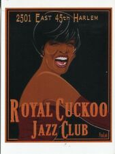 POST CARD OF A VINTAGE ADVERTISING POSTER FOR ROYAL CUCKOO JAZZ CLUB IN HARLEM