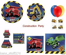 Construction Birthday Party Set, Balloons, Tattoos, Loot Bags, Hats, Table Cover