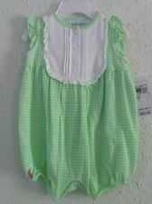 Ralph Lauren Infant Girls Bubble Romper Green Gingham Applied Bib Size 18M NWT