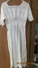 vintage 1920s Victorian White (Gauze?) Cotton Lace Lawn Dress Lingerie Gown