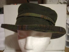 "Women's Barbour hat Waxy cotton wool plaid trim S small 21-1/2"" 54.5cm, 6-3/4 vg"