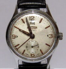 VINTAGE*ROAMER-CALENDAR*17 JEWELS MECHANICAL SWISS MEN'S WATCH*SERVICED* # 57A