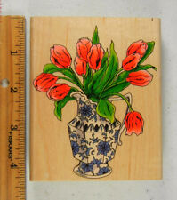Rubber Stamp PENNY BLACK Tulip Flowers in Porcelain Vase #2347