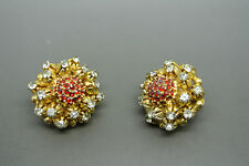 Vintage Rare Christian Dior 1966 red crystal earrings