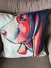 UNUSUAL & CUTE BASSET HOUND /BLOOD hOUND DOG CUSHION COVER BN LOVELY COLOURS