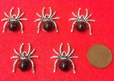 SET OF 5 UNIQUE RHINESTONE SPIDER SILVER TONE RHODIUM CHARM PENDANTS (S1)