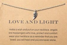 DF10 Gold Silver Love & Light Dainty Angel Wing Necklace & Card