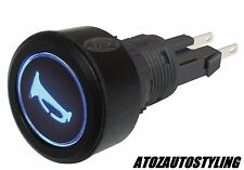 SAVAGE Black Push Button HORN Switch Momentary Blue LED   NEW