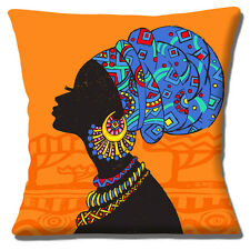 "AFRICAN TRIBAL LADY ORANGE BLUE SHADES MULTI ETHNIC 16"" Pillow Cushion Cover"
