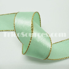 """Sewing Ribbon Party Satin Ribbon Gold Edge Double Faced 5/8""""(16mm)x50YDS - B4011"""