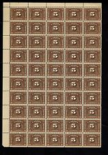CANADA 5 Cent 1935 Bilingual Customs Duty Revenue #FCD8 sheet of 50 MNH OG