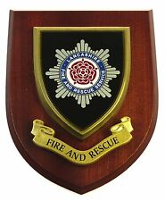 LANCASHIRE FIRE & RESCUE SERVICE LICENSED HAND MADE WALL / MESS PLAQUE