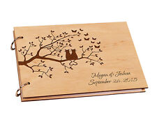 Personalized Engraved Name Wooden Love Cats On Tree A4 Custom Wedding Guest Book