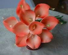 10 Coral Calla Lilies Real Touch Flowers for Silk Bridal Wedding Bouquets
