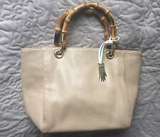 Brand New Dents Nude Small Designer Faux Leather Tote Bag With Bamboo Handles