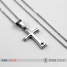 "18"" Girl's WOMEN's Stainless Steel Small Mini Cross Pendant w/ Necklace Cool 13J"