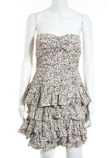 J CREW Multi Colored Cotton Floral Print Strapless Tiered Dress Sz 4