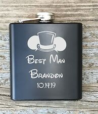 Personalized Best Man Flask Disney Inspired Engraved Bachelor Party Gift