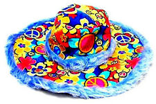 BLUE WILD PEACE SIGN FUZZY HAT party supplies novelty hats hippie cap signs new
