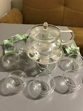 Blooming Tea Set : Glass Teapot 6 Flowering Tea Sampler, Teapot Warmer, 6 cup