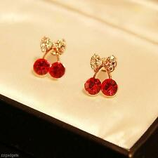1 Pair Women Cherry Rhinestone Ear Studs Eardrop Earrings Fashion Jewellery Hot