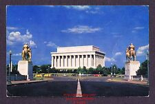 LMH Postcard '60 LINCOLN MEMORIAL White Marble Temple WASHINGTON Sculpture PE-15