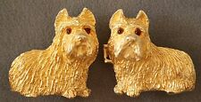 Vintage Mimi Di' N Gold Plated Norwich Terriers Buckle Vintage 2 pcs Excellent