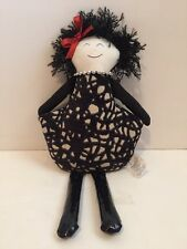 """2013 Woof & Poof Black Hair Witch  Girl Doll 16"""" Collectible Crushed Nut Shells"""