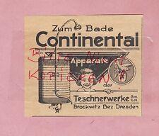 BROCKWITZ-DRESDEN, Werbung 1927, Teschnerwerke GmbH Continental Bade-Apparat